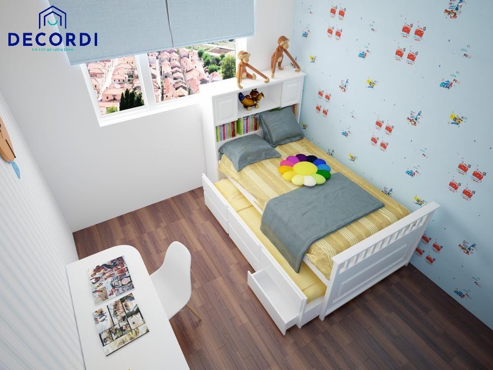 Mẫu thiết kế nội thất phòng ngủ 6m2 đơn giản có giường ngủ kéo 2 tầng