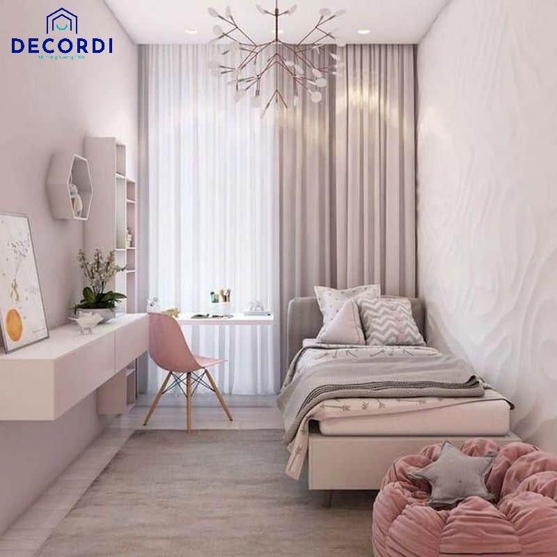 Phòng ngủ nhỏ 6m2 màu hồng cho con gái với nội thất để sát tường tận dụng diện tích