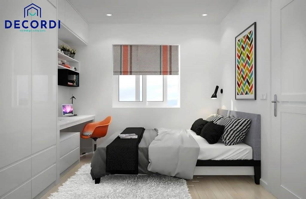 Mẫu phòng ngủ gam màu trắng đen với hệ thống tủ quần áo lớn