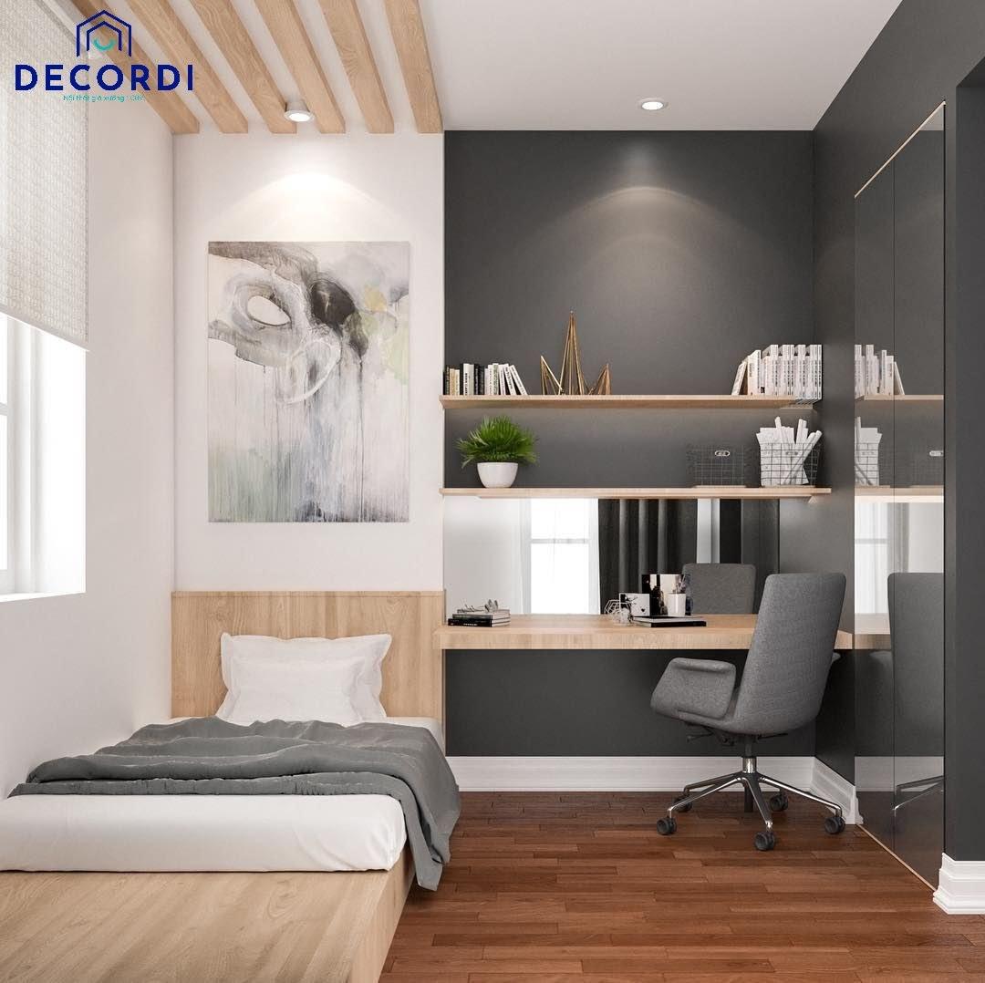 Phòng ngủ 6m2 đơn giản với giường ngủ bục