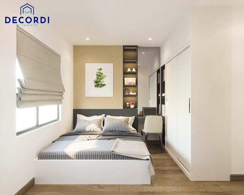 Nội thất phòng ngủ 7m2 hiện đại với tủ quần áo âm tường