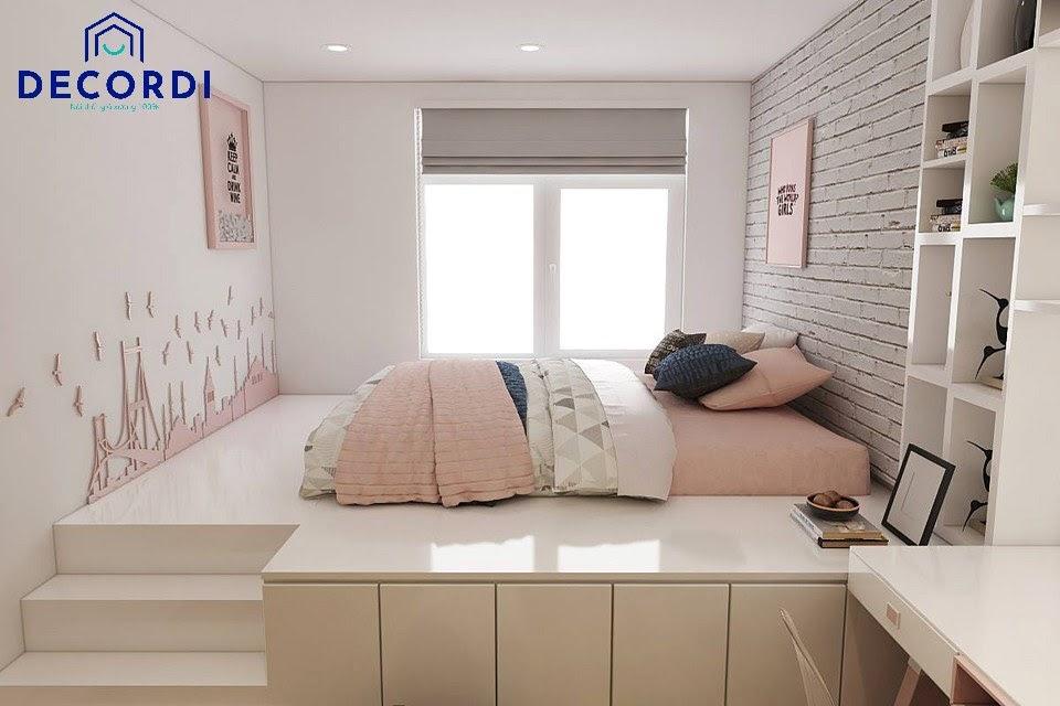 Mẫu phòng ngủ có giường bục lớn kết hợp ngăn kéo để đồ và hệ thống kệ tủ bàn học tiện nghi
