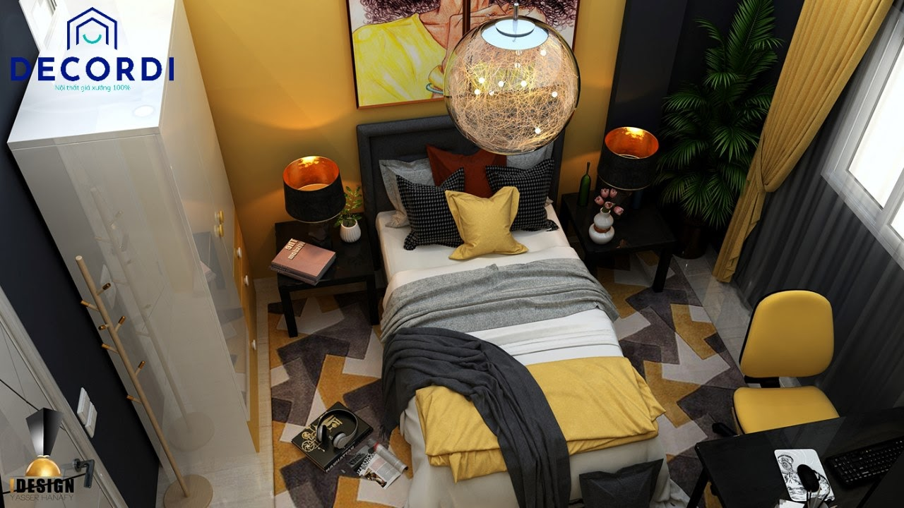 Mẫu phòng ngủ cá tính, độc lạ màu vàng đen tiện nghi