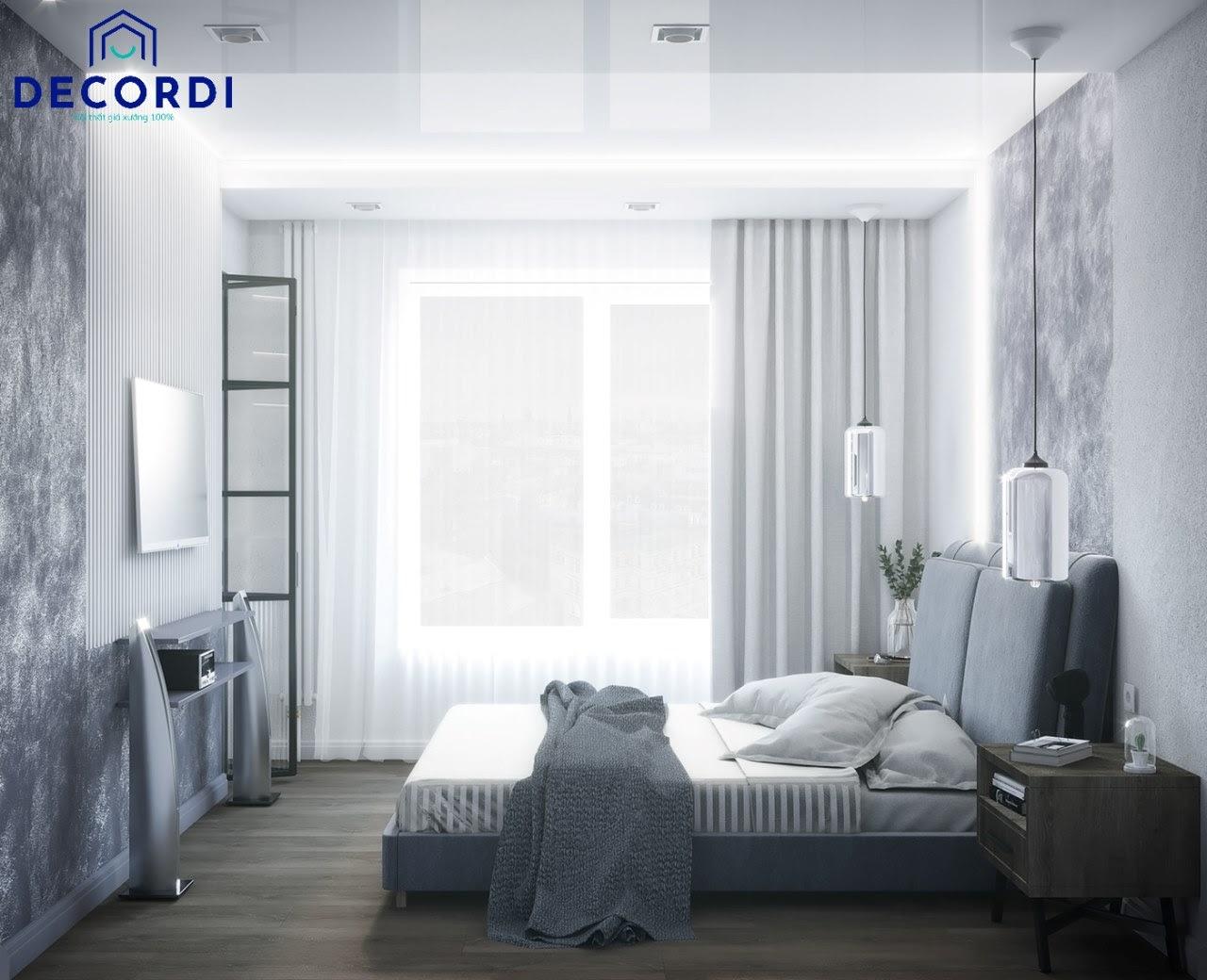 Mẫu phòng ngủ gam màu trung tính bố trí cửa sổ lớn