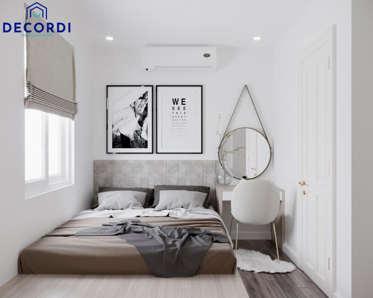 Thiết kế phòng ngủ 8m2 có giường bục và nội thất đơn giản