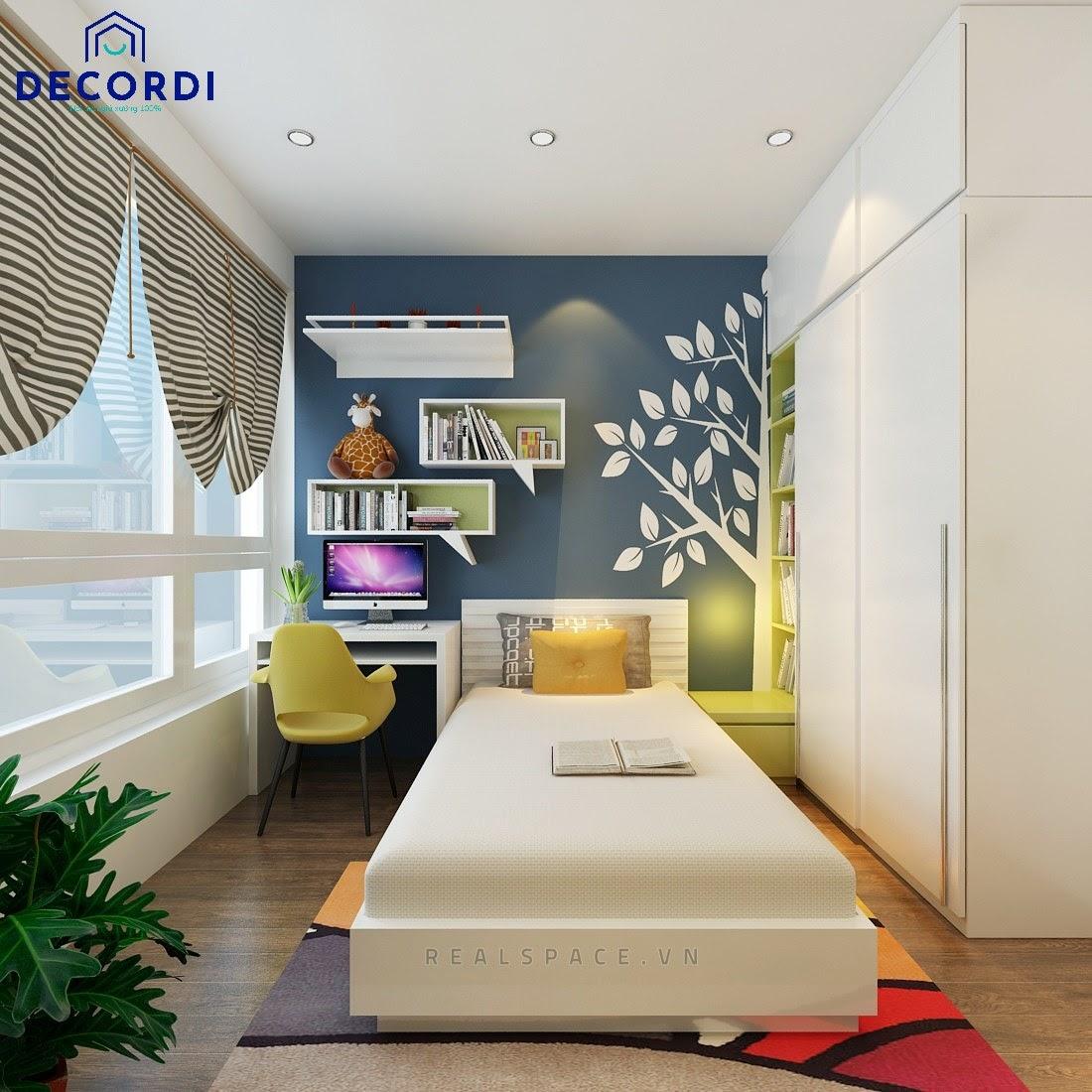 Phòng ngủ 8m2 tiện nghi và hiện đại với cửa sổ lớn đón nắng