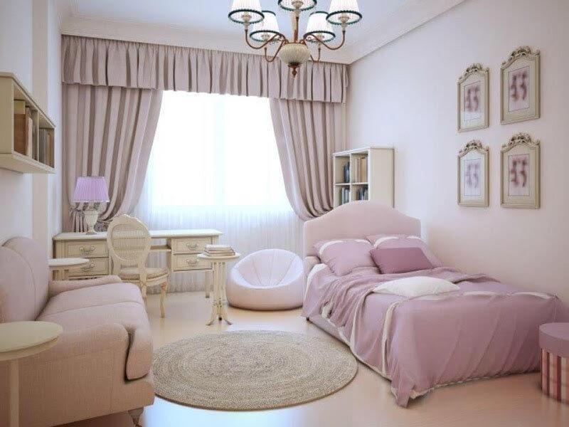 Không gian nội thất phòng ngủ màu hồng 8m2 phong cách tân cổ điển