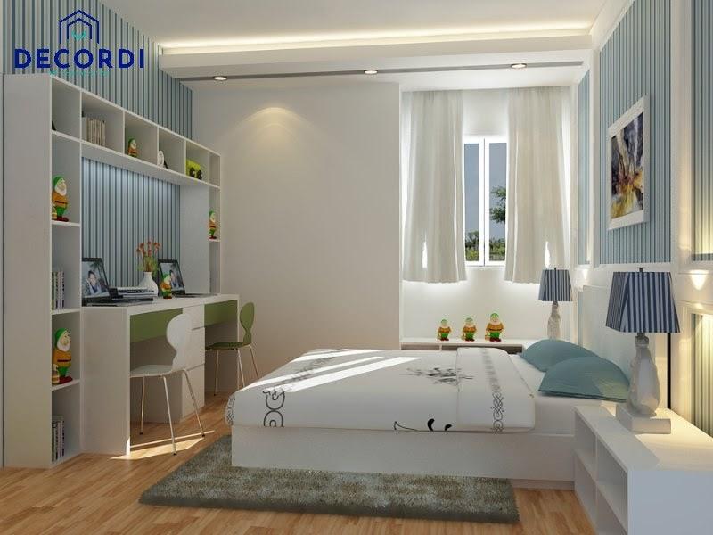 Phòng ngủ 8m2 hiện đại phối tông màu trắng + xanh dương và xanh lá
