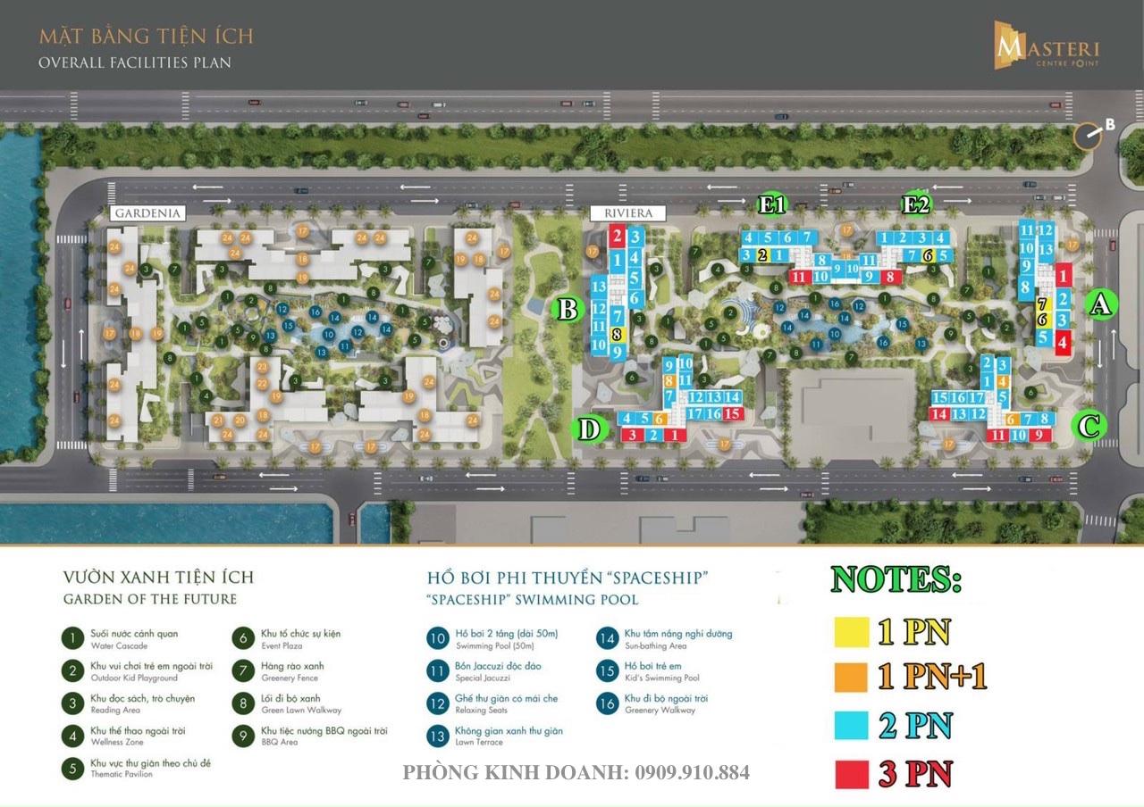 Thiết kế mặt bằng tầng căn hộ Masteri Centre Point Quận 9 . Tòa A-B-C-D-E